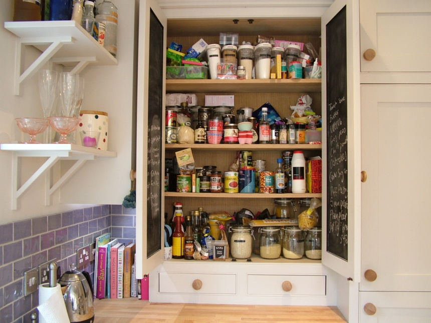 Store cupboard / pantry with 'chalkable' reverse doors